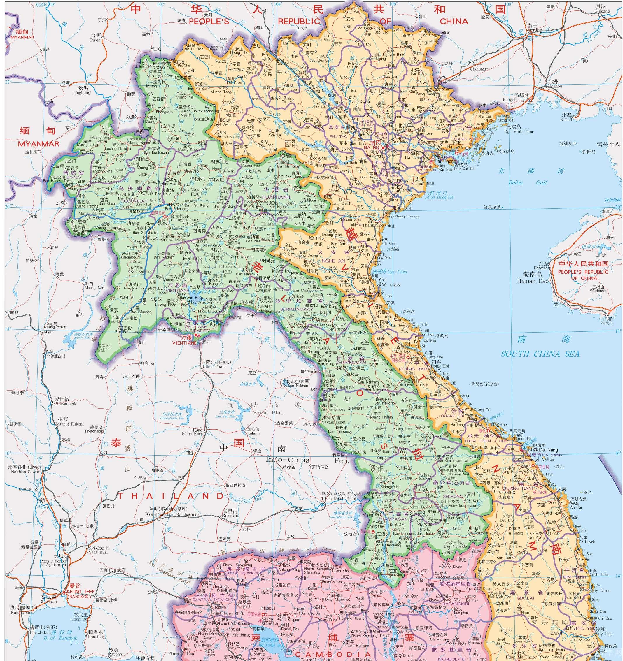 老挝地图高清版(中文版)